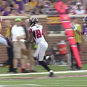 Minnesota Vikings safety Harrison Smith intercepts Atlanta Falcons quarterback Matt Ryan