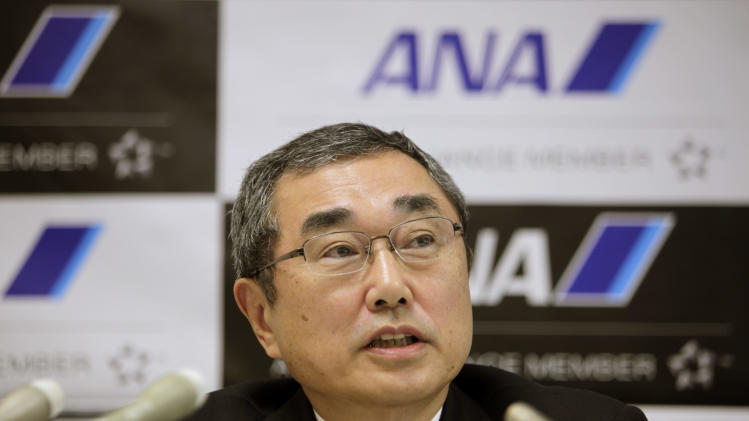 All Nippon Airways' Chief Executive Officier and President Shinichiro Ito speaks during a press conference at the company's office in Tokyo Friday, March 1, 2013. The president of ANA, Boeing's biggest single customer for its troubled 787 Dreamliner, said Friday that he believes the U.S. manufacturer has made progress in resolving problems with the aircraft's lithium-ion batteries. (AP Photo/Junji Kurokawa)