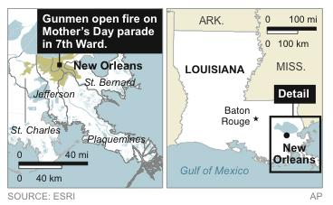 Map locates News Orlean's 7th Ward, where gunmen opened fire on a Mother's Day neighborhood parade