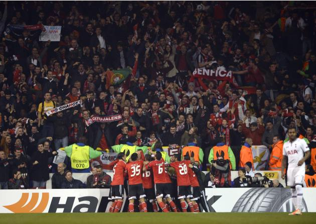 Benfica players celebrate Luisao's goal against Tottenham Hotspur during their Europa League soccer match at White Hart Lane in London