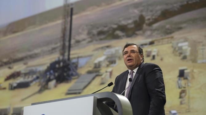 Patrick Pouyanne CEO of Total, delivers a speech at the 2015 Annual Shareholders meeting in Paris