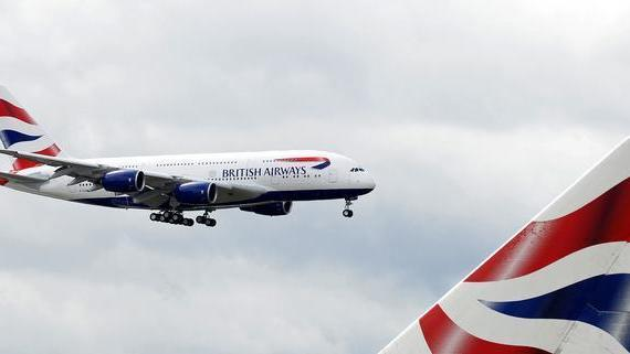 British Airways' new Airbus A380 comes in to land at Heathrow airport in London