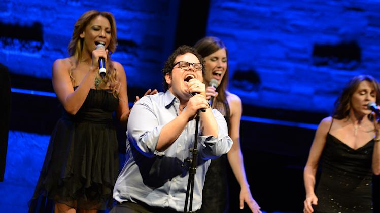EXCLUSIVE CONTENT - Josh Gad, second from left, performs during the Backstage at the Geffen gala at the Geffen Playhouse on Monday, May 13, 2013, in Los Angeles. (Photo by Jordan Strauss/Invision for Geffen/AP Images)