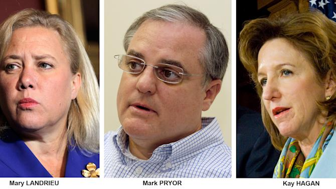 FILE - These file photos show Democrats Senators, from left, Mary Landrieu, D-La., Mark Pryor, D-Ark., and Kay Hagan, D-N.C. Both Republicans and Democrats are looking for fresh ways to pitch old arguments as they head into the final midterm election year of Barack Obama's presidency. That promises to be an acute issue for several Senate Democrats _ Mark Pryor of Arkansas, Mary Landrieu of Louisiana, and Kay Hagan of North Carolina _ who are running for re-election for the first time since voting for the health care law in 2010. (AP Photo/Files)