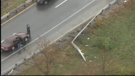 1 person transported to hospital after car overturns on ramp from I-64 to I-71