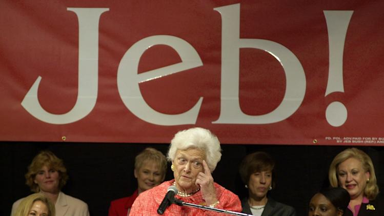 "FILE – In this Oct. 22, 2002, file photo former first lady Barbara Bush makes a point as she campaigns for her son, Florida Gov. Jeb Bush, at Nova Southeastern University in Davie, Fla. Amid the celebration surrounding the opening of son George W. Bush's presidential library, Barbara Bush is brushing aside talk of her son Jeb running for president in 2016. When asked how she felt about it she told NBC's ""Today"" show, Thursday, April 25, 2013, ""We've had enough Bushes.""  (AP Photo/Marta Lavandier, File)"