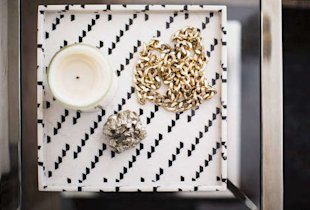 tray chicPlayful pattern enlivens this organizing staple.Nate Berkus polyresin marble print $24.99 target.com