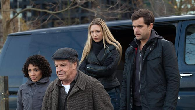 """This undated image released by Fox shows, from left, Jasika Nicole, John Noble, Anna Torv and Joshua Jackson in a scene from the two-hour series finale of """"Fringe,"""" airing Friday, Jan. 18, 2013 at 8 p.m. EST on Fox. (AP Photo/Fox, Liane Hentscher)"""