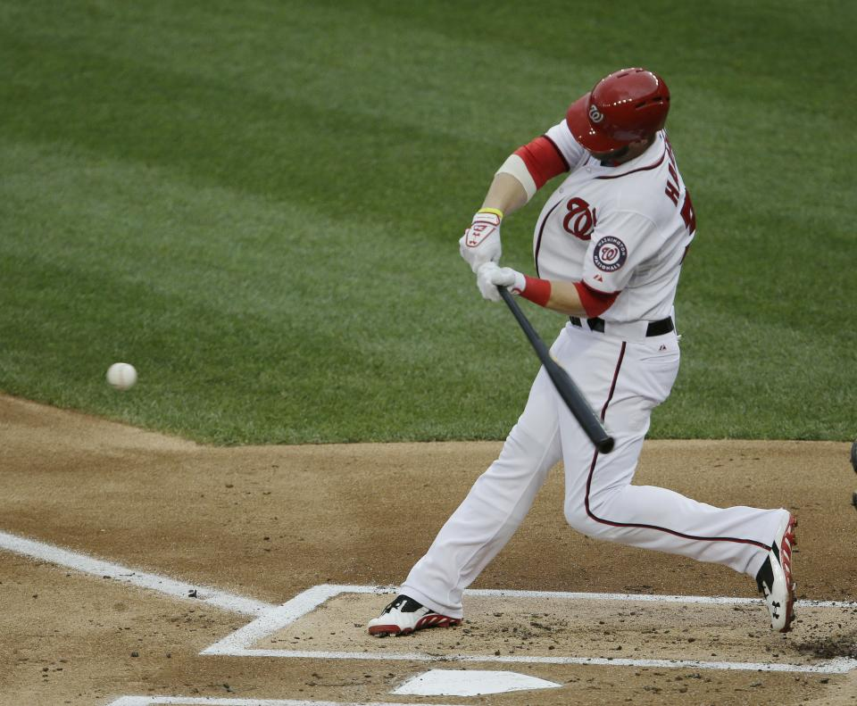 Washington Nationals Bryce Harper connects for a solo homer against Milwaukee Brewers starting pitcher Yovani Gallardo during the first inning of a baseball game at Nationals Park, Monday, July 1, 2013, in Washington. (AP Photo/Pablo Martinez Monsivais)