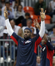 USA's Lebron James celebrates the team's win over Argentina in a preliminary men's basketball game at the 2012 Summer Olympics, Tuesday, Aug. 7, 2012, in London. (AP Photo/Eric Gay)