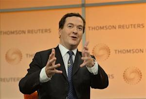 Britain's Chancellor of the Exchequer George Osborne speaks at a Thomson Reuters Newsmaker event at Canary Wharf in London