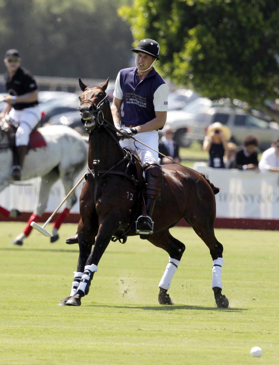 Prince William, Duke of Cambridge competes in the charity polo match at The Santa Barbara Polo & Racquet club on Saturday, July 9, 2011 in Carpinteria Calif.  The event is held in support of The American Friends of The Foundation of Prince William and Prince Harry. (AP Photo/Jae Hong)