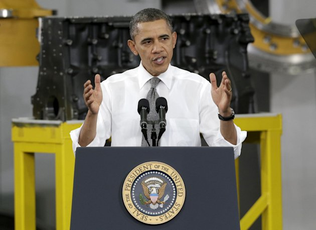 In this Feb. 13, 2013 photo, President Barack Obama speaks to workers and guests at the Linamar Corporation plant in Arden, N.C. Obama says raising the minimum wage to $9 an hour and tying future increases to inflation will raise the incomes of millions living in poverty and spur job growth. Business groups are not so sure. They complain that boosting the federal rate from $7.25 an hour would discourage employers from hiring new workers, hurting the very people Obama aims to help. (AP Photo/Chuck Burton)