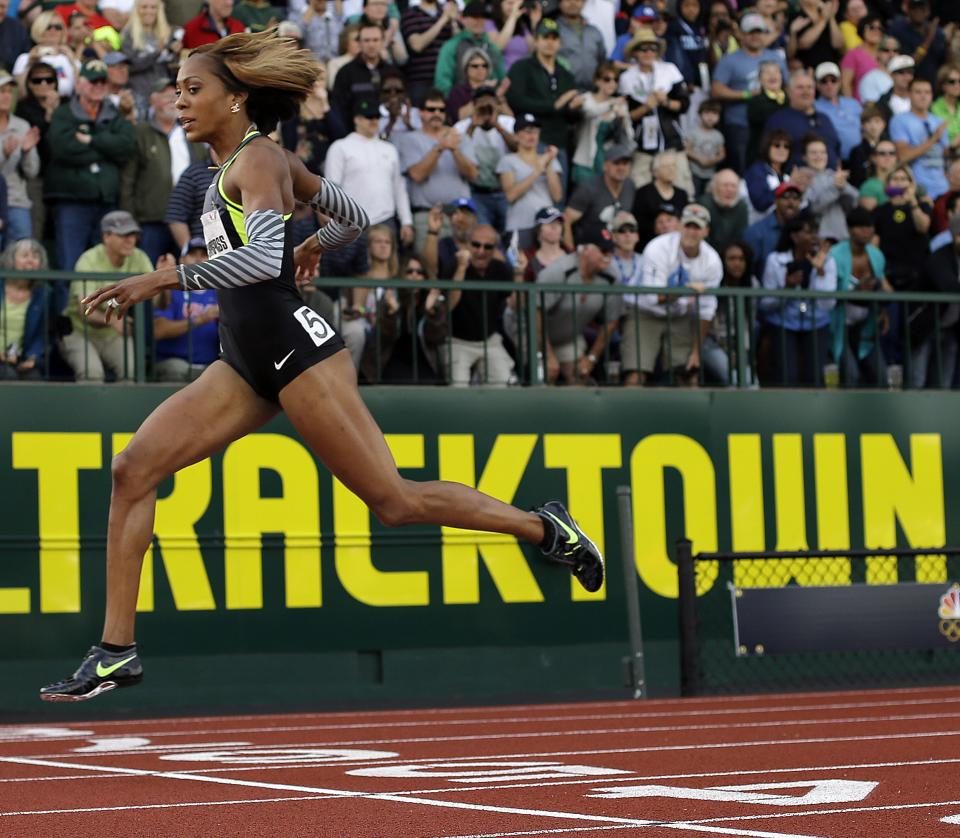 Sanya Richards-Ross crosses the finish line in the women's 400m finals at the U.S. Olympic Track and Field Trials Sunday, June 24, 2012, in Eugene, Ore. (AP Photo/Matt Slocum)