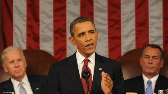 President Obama addresses the joint members of Congress