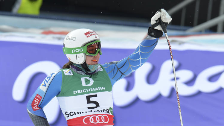 United States' Leanne Smith reacts during the women's downhill training at the Alpine skiing world championships in Schladming, Austria, Thursday, Feb.7,2013. (AP Photo/Kerstin Joensson)