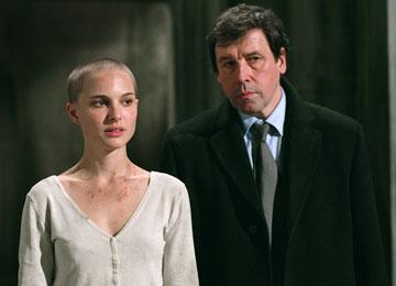 Natalie Portman as Evey and Stephen Rea as Finch in Warner Bros. Pictures' V for Vendetta