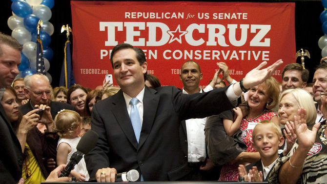 U.S. Senate candidate Ted Cruz speaks to a cheerful crowd after he defeated Republican rival, Lt. Gov. David Dewhurst in a runoff election for the GOP nomination for the U.S. Senate seat vacated by the retiring Kay Bailey Hutchison Tuesday, July 31, 2012, in Houston. (AP Photo/Houston Chronicle, Johnny Hanson) MANDATORY CREDIT