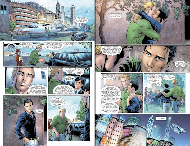 This combo made from images provided by DC Entertainment shows pages from the second issue of the company&#39;s &quot;Earth 2&quot; comic book series featuring Alan Scott, the alter ego of its Green Lantern character, who is revealed to be gay. The reveal is the latest example of how comics publishers big and small are making their characters just as diverse as the people who read their books. The issue will be available on June 6, 2012 (AP Photo/DC Entertainment)