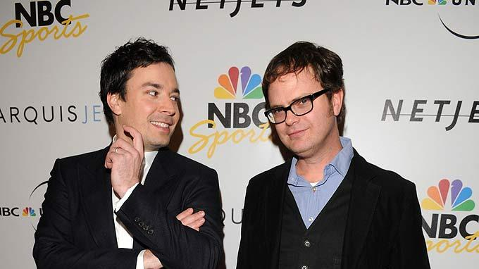 Jimmy Fallon and Rainn Wilson arrive to the NBC Universal Pre Super Bowl event at Portofino on January 31, 2009 in Orlando, Florida.