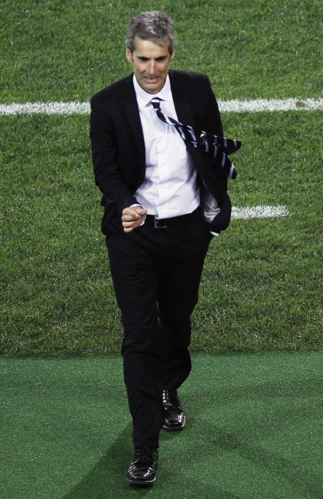 Auckland City FC's coach Tribulietx gesture during FIFA Club World Cup soccer match against Raja Casablanca at Grand Stadium in Agadir