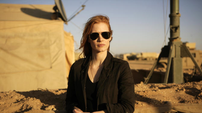 "FILE - This undated publicity film image provided by Columbia Pictures Industries, Inc. shows Jessica Chastain in""Zero Dark Thirty.""  Chastain was nominated Thursday, Dec. 13, 2012 for a Golden Globe for best actress in a drama for her role in the film. The 70th annual Golden Globe Awards will be held on Jan. 13. (AP Photo/Columbia Pictures Industries, Inc., Jonathan Olley, File)"
