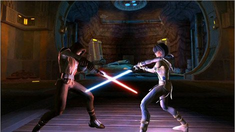 Lightsaber duels aplenty in 'Knights of the Old Republic'.