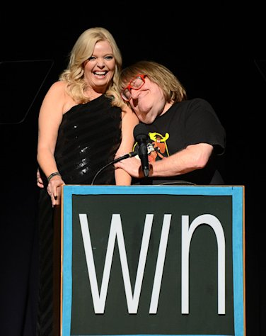Hosts Melissa Peterman and Bruce Vilanch ham it up at the 14th Annual Women's Image Awards in Hollywood on December 12, 2012.