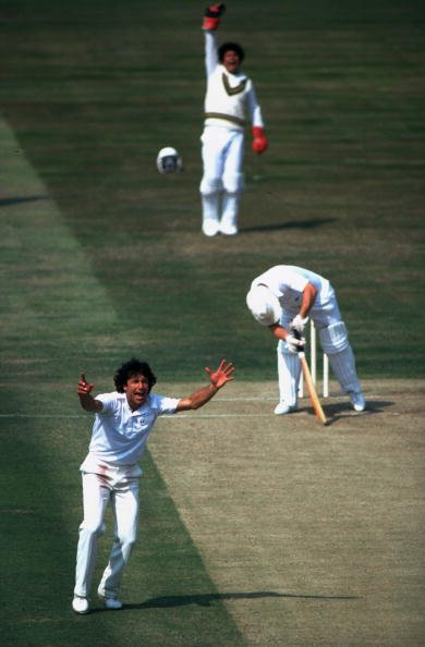 Undated:  Imran Khan of Pakistan and Sussex in action during a match. &amp;#92; Mandatory Credit: Adrian  Murrell/Allsport
