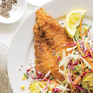 Crispy Lemon Catfish and Marinated Slaw