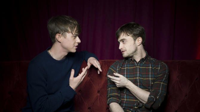 """Dane DeHaan, left, and Daniel Radcliffe from the film """"Kill Your Darlings,"""" pose for a portrait during the 2013 Sundance Film Festival at the Fender Music Lodge on Saturday, Jan. 19, 2013 in Park City, Utah. (Photo by Victoria Will/Invision/AP Images)"""