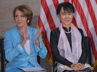 Myanmar member of Parliament and democracy icon Aung San Suu Kyi (R) with House Minority Leader Nancy Pelosi, before receiving the Congressional Gold Medal