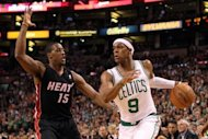 Boston Celtics' Rajon Rondo (R) drives to the basket as Miami Heat's Mario Chalmers defends during the first half of game 4 in their NBA Eastern Conference finals playoff series on June 3. The Celtics beat Miami 93-91 to level their NBA playoff series