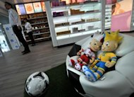 Slavek (L) and Slavko, mascots of the EURO 2012 football championships are pictured in a duty-free shop of the Terminal D of the Boryspil International airport in Kiev