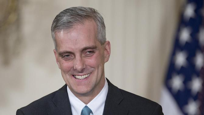 Current Deputy National Security Adviser Denis McDonough smiles in the East Room of the White House in Washington, Friday, Jan. 25, 2013, as President Barack Obama announced that he will name McDonough as his next chief of staff. (AP Photo/Carolyn Kaster)