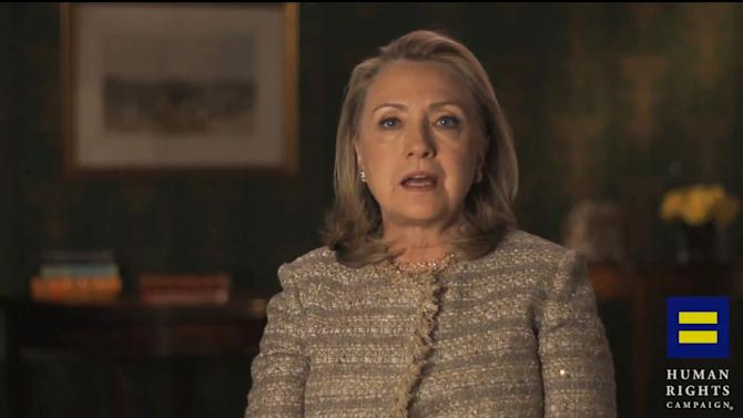 """This video framegrab, provided by the Human Rights Campaign shows former Secretary of State Hillary Rodham Clinton announcing her support for gay marriage, putting her in line with other potential Democratic presidential candidates on a social issue that is rapidly gaining public approval. Clinton made the announcement in an online video released Monday morning by the gay rights advocacy group Human Rights Campaign. She says in the six-minute video that gays and lesbians are """"full and equal citizens and deserve the rights of citizenship."""" (AP Photo/Human Rights Campaign)"""