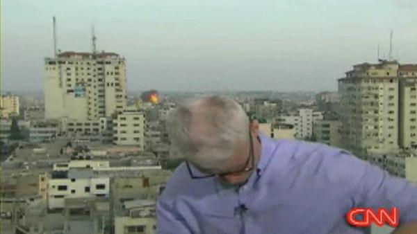Gaza explosion as Anderson Cooper preps for liveshot