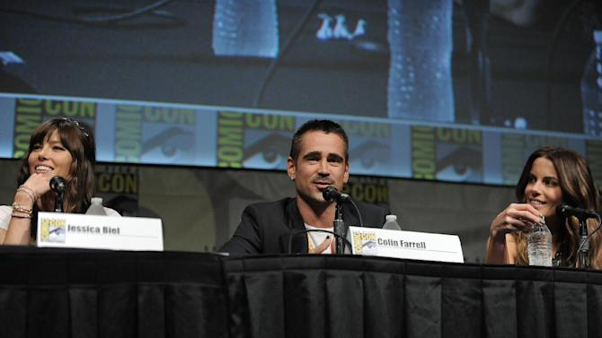 """CORRECTS DATE TO FRIDAY JULY 13 - Jessica Biel, Colin Farrell and Kate Beckinsale attend the """"Total Recall"""" panel at Comic-Con on Friday, July 13, 2012 in San Diego, Calif. (Photo by Jordan Strauss/Invision/AP)"""