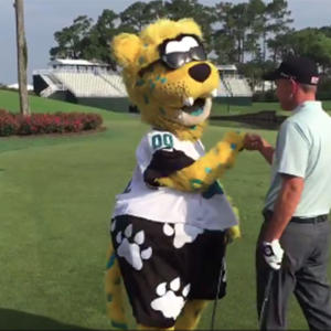 NFL mascot nails shot on 'scariest' golf hole