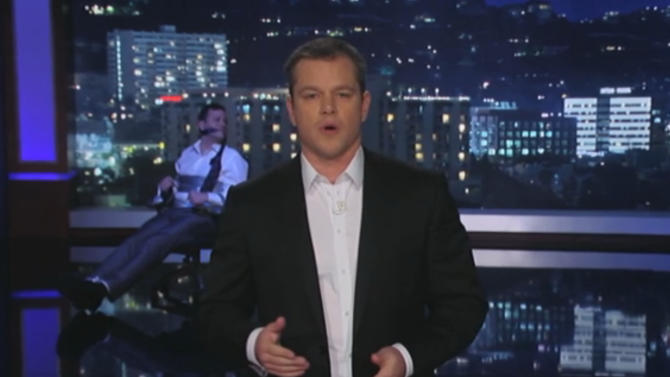 This frame grab image provided by ABC shows a scene from the Thursday Jan. 24, 2013 Jimmy Kimmel show. Actor Matt Damon who's been the butt of a long-running joke on Jimmy Kimmel's ABC talk show, took over the program Thursday night and left a bound and gagged Kimmel to watch a succession of stars stop by. (AP Photo/ABC)