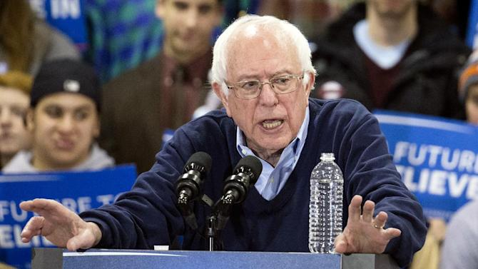 Democratic presidential candidate Sen. Bernie Sanders, I-Vt., speaks during a campaign stop at the Franklin Pierce University Fieldhouse, Saturday, Feb. 6, 2016, in Rindge, N.H. (AP Photo/John Minchillo)