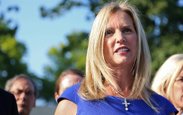 FILE - In this Tuesday, July 17, 2012 file photo, Kerry Kennedy, ex-wife of New York Gov. Andrew Cuomo, speaks after she appeared at the North Castle Justice Court in Armonk, N.Y. A court document says the drug found in Ambien sleeping pills was found in Kerry Kennedy&#39;s blood after her recent New York auto accident. (AP Photo/Craig Ruttle, File)