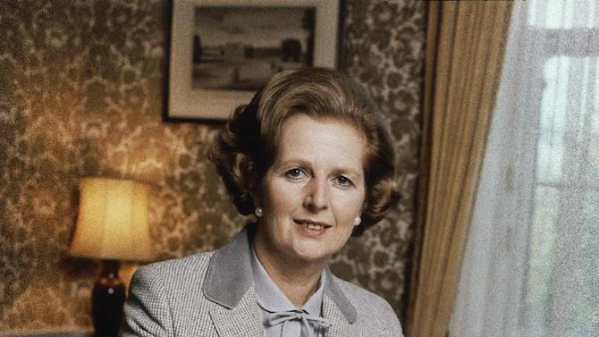 "FILE - This is a 1980 file photo showing  British Prime Minister Margaret Thatcher. Ex-spokesman Tim Bell says that Thatcher has died. She was 87. Bell said the woman known to friends and foes as ""the Iron Lady"" passed away Monday morning, April 8, 2013. (AP Photo/File)"