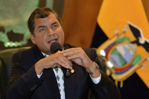 <p>Ecuadorean president Rafael Correa speaks during press conference in Quito on June 21. Ecuador on Friday recalled its ambassador to Britain to discuss what to do about WikiLeaks founder Julian Assange, who has sought refuge in their diplomatic mission in London.</p>