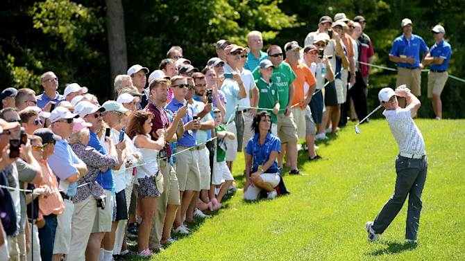 Rory McIlroy of Northern Ireland in action during the pro-am event prior to the Deutsche Bank Championship at the TPC Boston on August 28, 2014 in Norton, Massachusetts