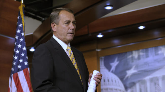 House Speaker John Boehner of Ohio arrives for a news conference on Capitol Hill in Washington, Thursday, July 21, 2011. (AP Photo/Susan Walsh)