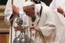 Pope Francis leads the Chrismal mass in Saint Peter's Basilica at the Vatican