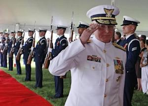 New Commandant of the U.S. Coast Guard Admiral Papp arrives for a Change of Command ceremony in Washington