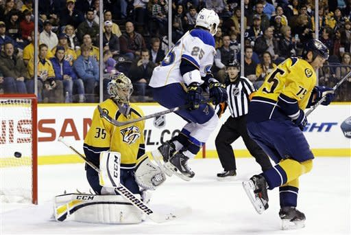 Steen's goal lifts Blues past Predators 4-3 in SO