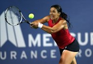 France's Marion Bartoli during her Mercury Insurance Open match against Taiwan's Chan Yung-jan in Carlsbad on July 21. Bartoli beat Chan 1-6, 6-3, 6-3 at the WTA Carlsbad tournament to reach her second final of the season